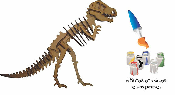Q.C 3D Tiranossauro 55 pçs Pinta e Brinca