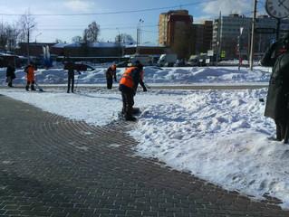 Очистка тротуаров от льда и снега