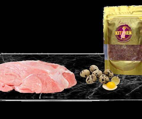 Turkey Balanced Mince with quail eggs