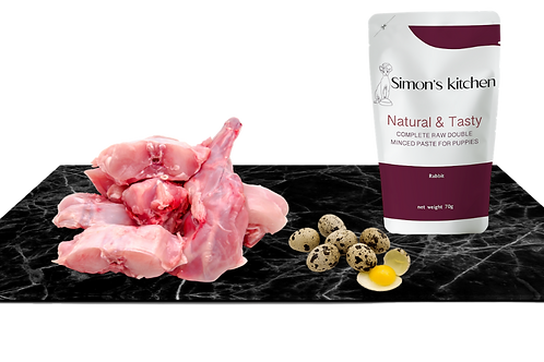 Double minced paste for puppies Rabbit Mince with quail eggs
