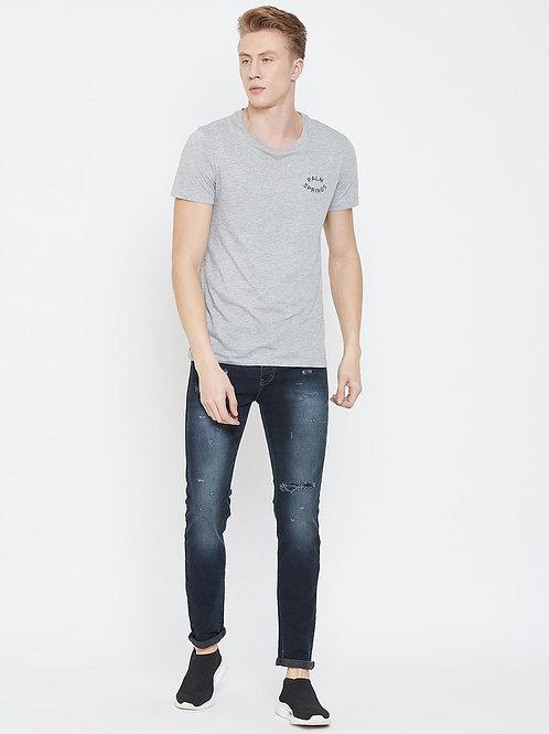 Stylox Men Slim Fit Mid Rise Distressed  Blue Jeans 5911-1555