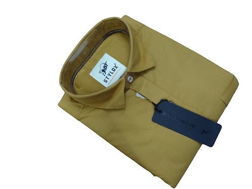 Stylox plain collar casual shirt full sleeves for men