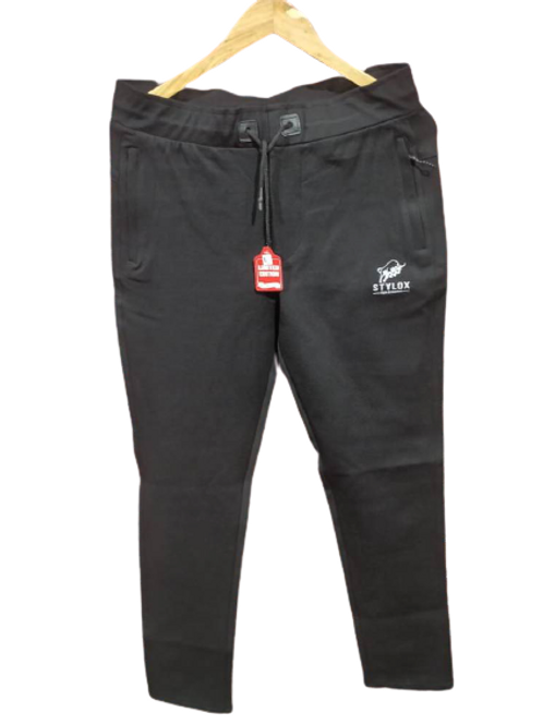 STYLOX Black Stretchable Lycra Trackpant for Men 5001