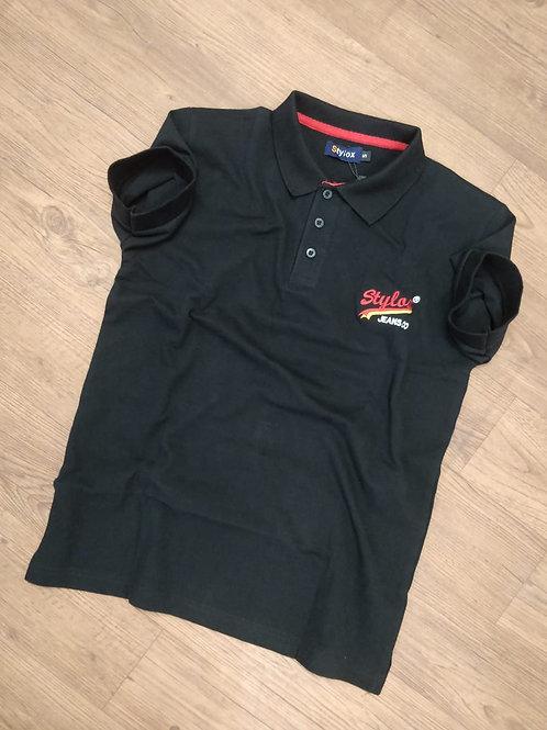 STYLOX Black Polo T shirt For Men