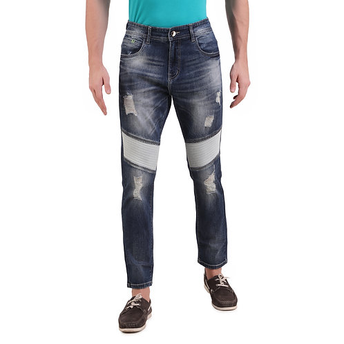 Stylox Men Slim Fit Mid Rise Distressed  Blue Jeans 5214-1640