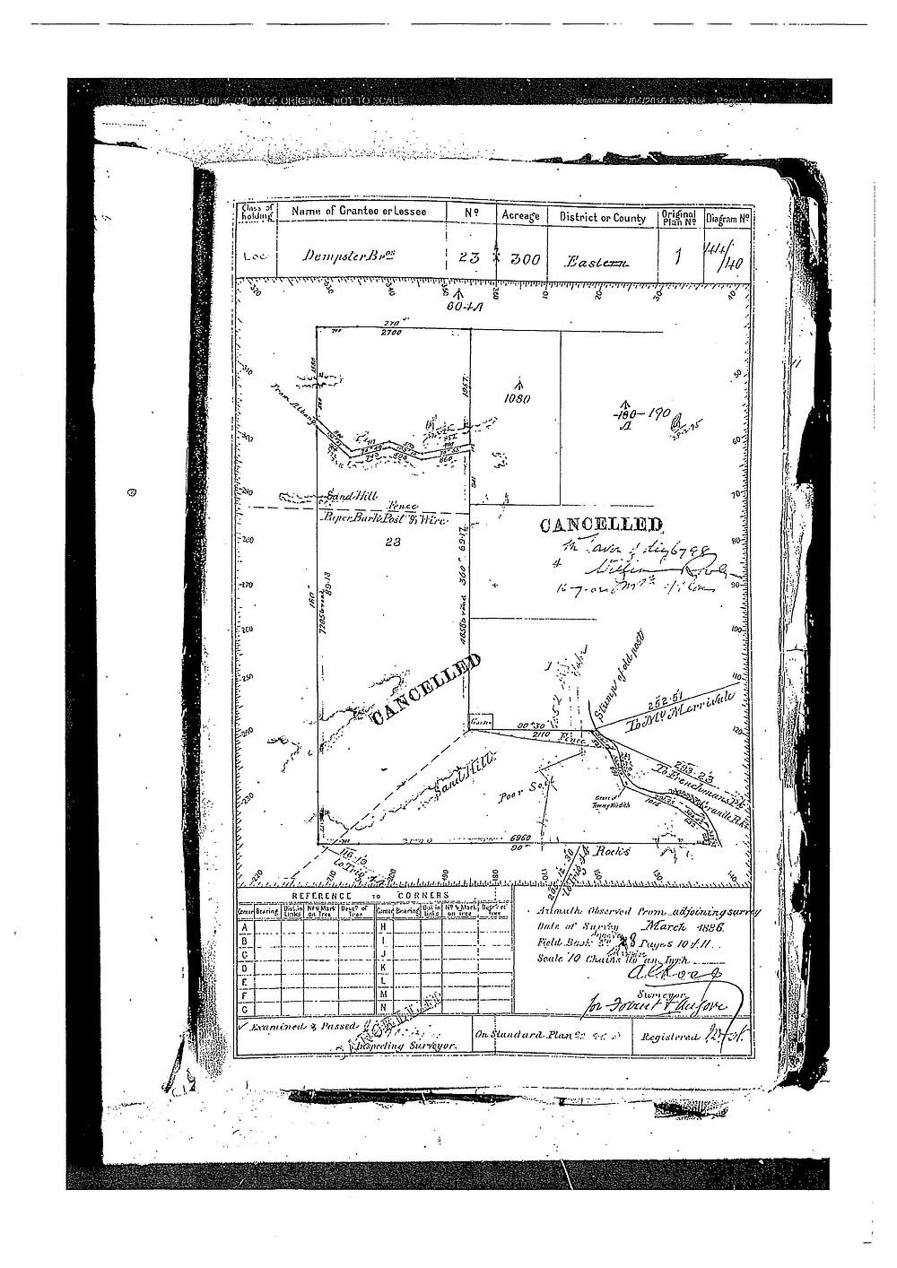 A land tenure map from 1886 showing the location of the original gravesite. When this map was geo-referenced with current maps by GIS specialists, the original location is southeast of the current memorial – at the same location as the GPR anomaly.