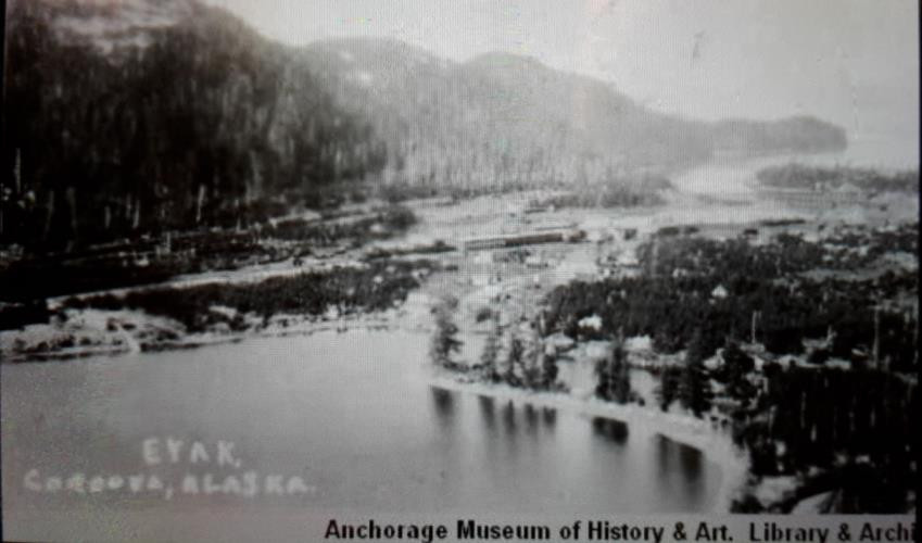 Aerial view of the Spit and Cordova, looking south. From the Anchorage Museum of History & Art Library and Archives.