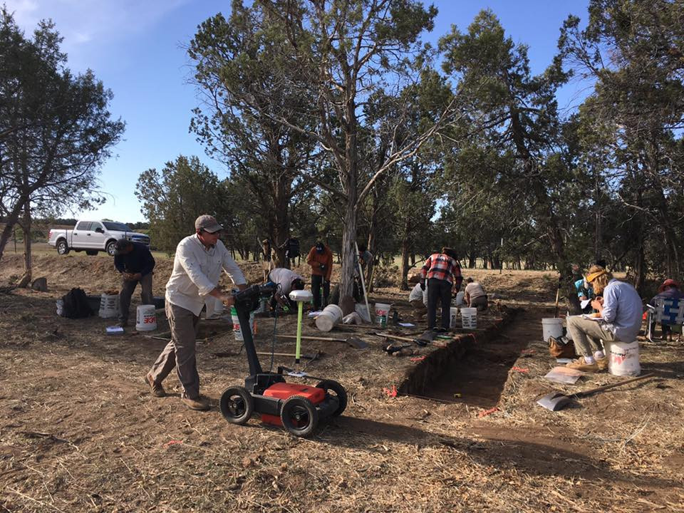 Chet Walker of Archaeo-Geophysical Associates, LLC conducts ground-penetrating radar (GPR) during Alpine's excavations in southwest Colorado (photo: Alpine Archaeological Consultants.