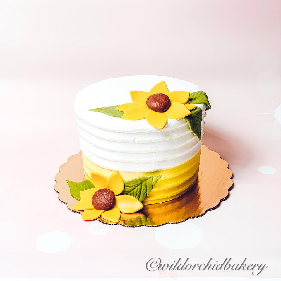 Sunflower 1st Smash Birthday Cake