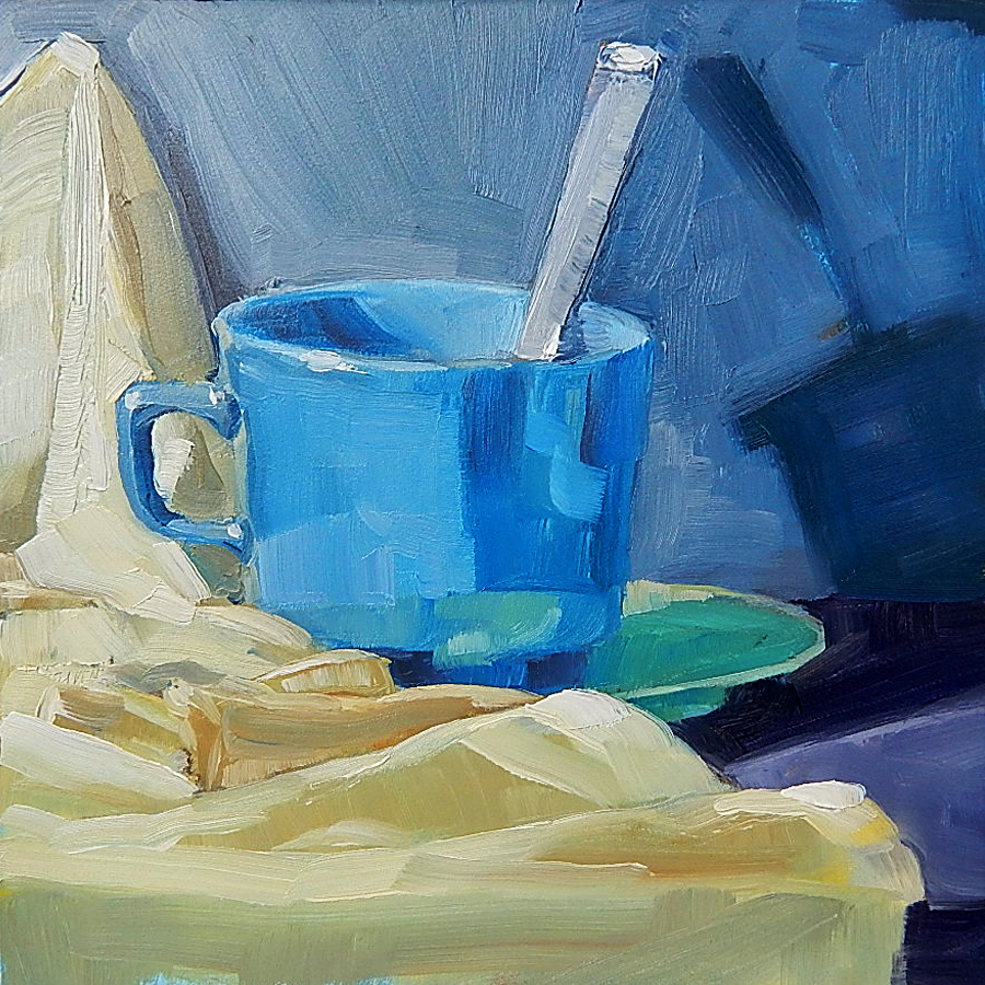 Blue Cup with Cloth