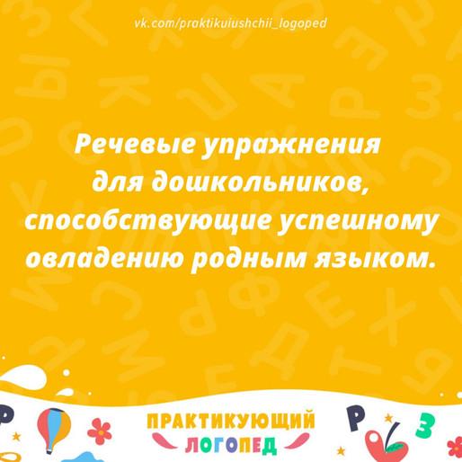 Речевые упражнения для дошкольников, способствующие успешному овладению родным языком. (2 часть)