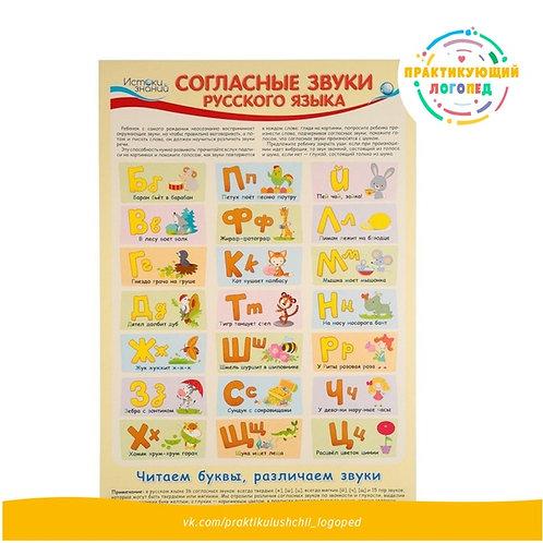 Плакат А3 Согласные звуки русского языка