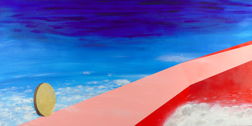 A gold coin balances on a sharp, pink ledge with red sides and surreal geometry, high up above the clouds.
