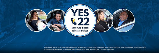 """A white badge that says """"YES 22 Save App-Based Jobs & Services"""", is flanked by pictures of presumably a food-delivery driver and three on-demand drivers on a blue background."""