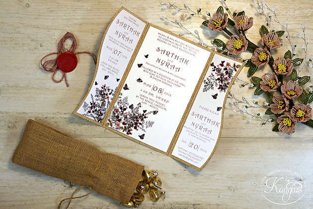 Vintage Burlap Themed Wedding Invitation