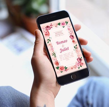 Rosy E-Invite  - Themed Wedding Invitation