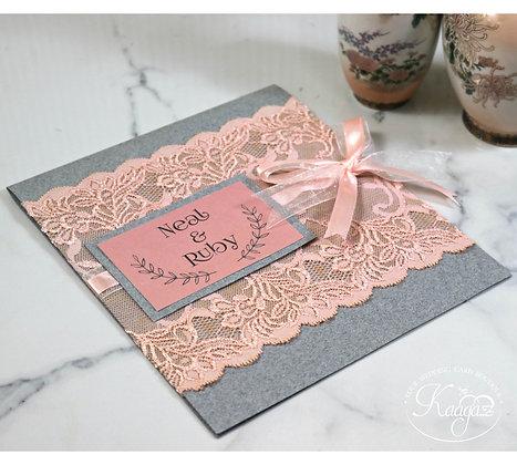 Fabric Lace Wedding Invitation - Grey & Peach