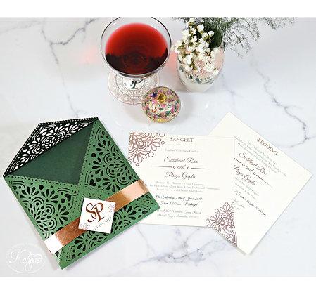 Gorgeous Green & Copper Laser Cut Card
