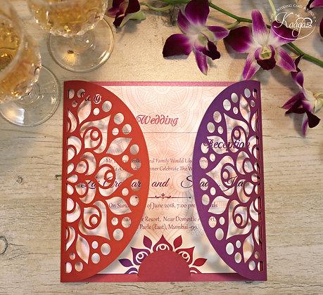 Indian Motif Laser Cut Wedding Invitation