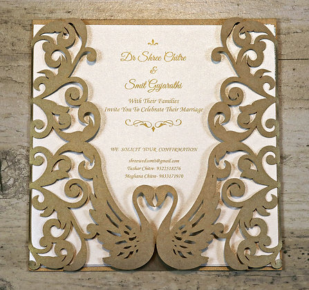 Graceful Swan Themed Wedding Invitation