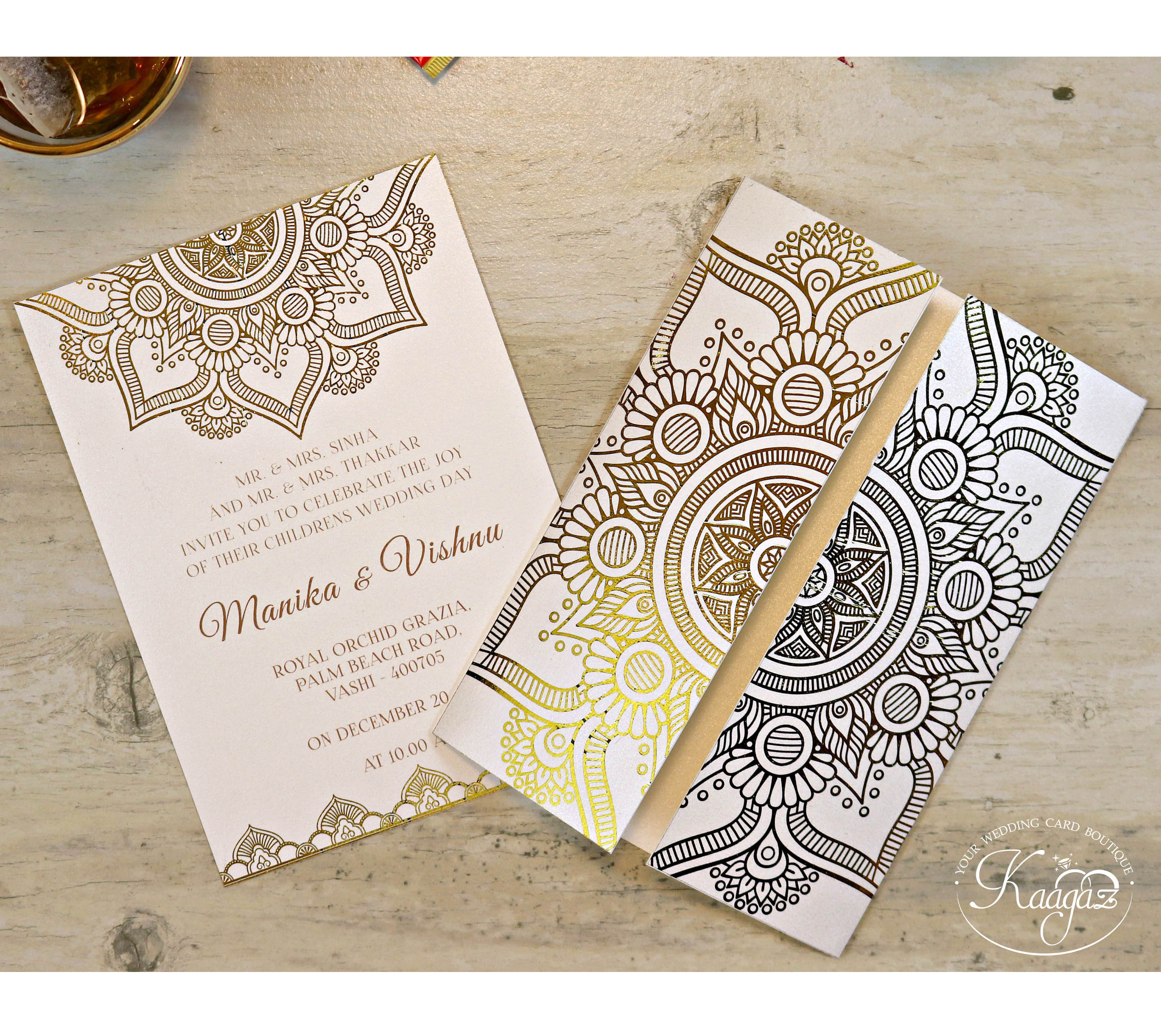 Gold Foiled Card Kerala Themed Wedding Invitation Card