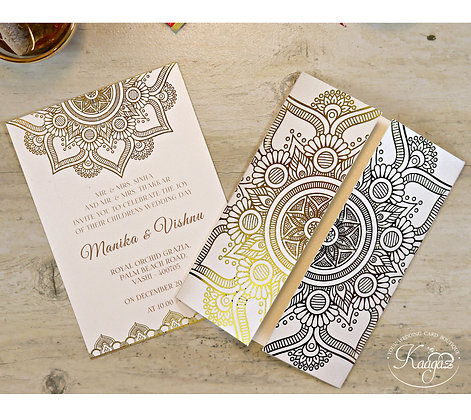 Gold Foiled Card - Kerala Themed Wedding Invitation