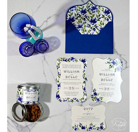 Vibrant Blue Floral Wedding Card