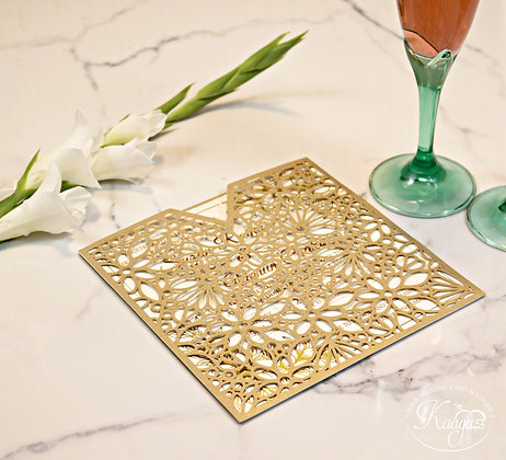 Gorgeous Gold Floral Wedding Invitation
