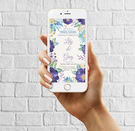 Purple Floral E-Invite  - Themed Wedding Invitation
