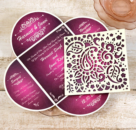 Ornamental Paisley Wedding Card Invitation