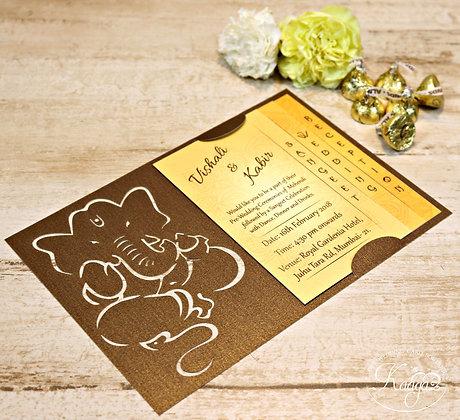 Ganesha Wedding Invitation - Laser Cut