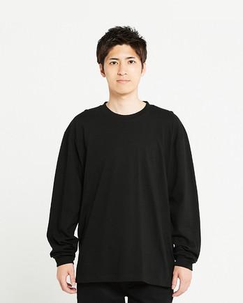 Printstar 5.6オンス ヘビーウェイトビッグLS-Tシャツ(00114-BCL)ブラック_前面