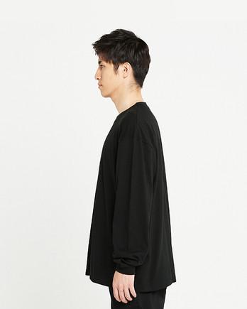 Printstar 5.6オンス ヘビーウェイトビッグLS-Tシャツ(00114-BCL)ブラック_サイド