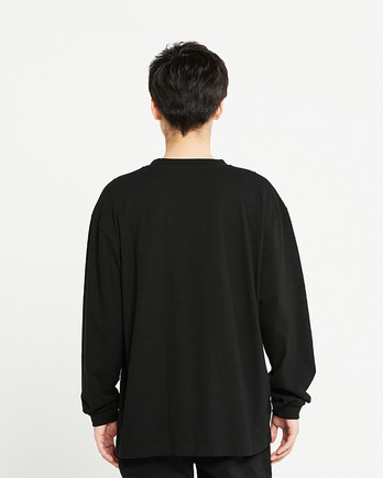 Printstar 5.6オンス ヘビーウェイトビッグLS-Tシャツ(00114-BCL)ブラック_背面