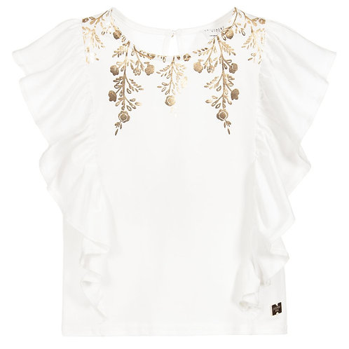Carrément Beau Ivory Top with Gold Detail
