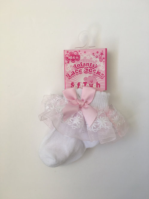 Soft Touch Baby Girls Lace Frill Ankle Socks