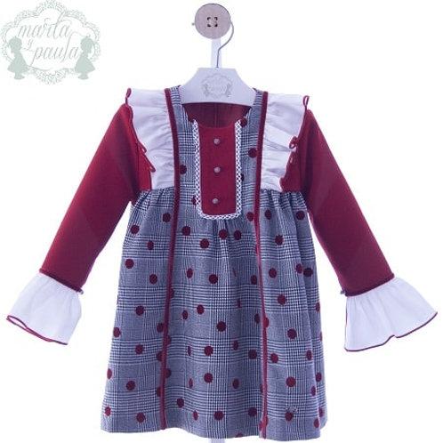 Marta Y Paula Spanish Designer Long Sleeve Grey/ Red Dress