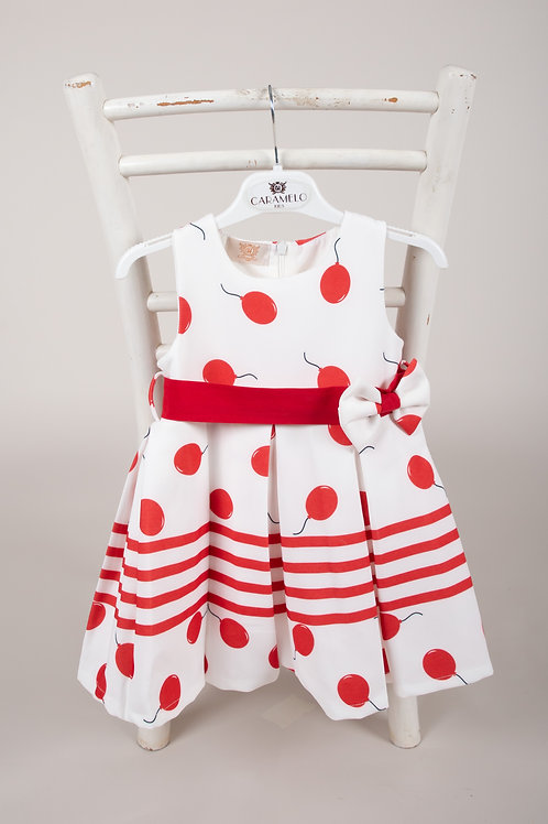 Caramelo Girls Party Dress with Red Balloon Print