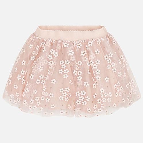 Mayoral Girls Peach Tulle Flower Skirt