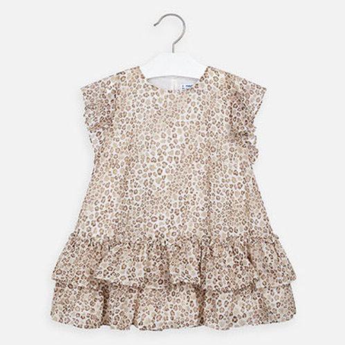 Mayoral Girls Ruffled Animal Print Design Dress