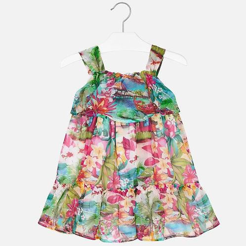 Mayoral Girls Sleeveless Tropical Print Dress
