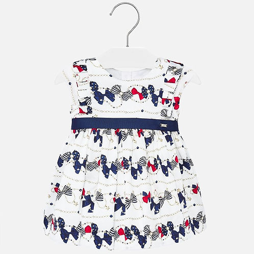 Mayoral Baby Girls Dress with Bow Pattern Design