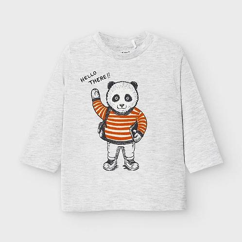 Mayoral Baby Boys Grey Panda Long Sleeve Top