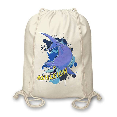 Personalised Underwater Shark Drawstring Bag