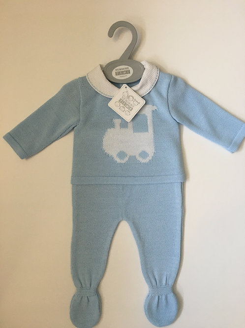 Baby Boys Pale Blue Two Piece Knitted Set