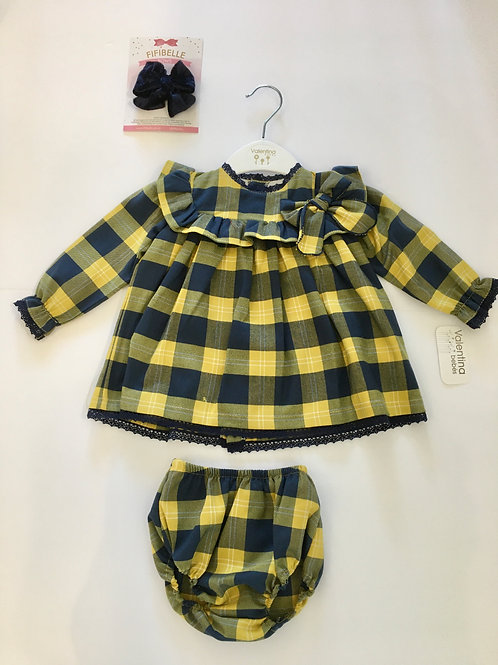 Valentina Bebes Blue & Yellow Check Dress with Matching Knickers