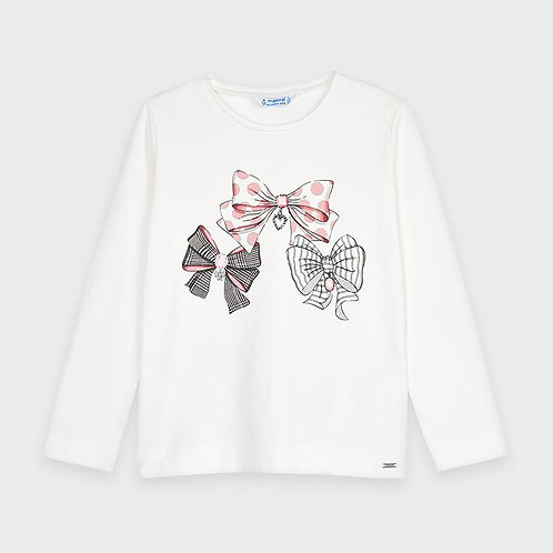 Mayoral Girls Long Sleeve Top With Bow Pattern