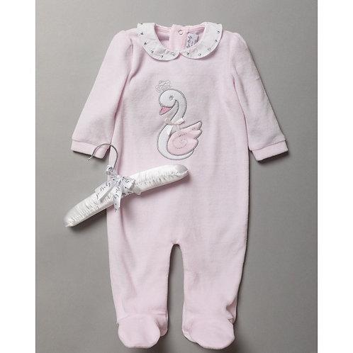 Baby Girls Pale Pink Swan Princess Velour Sleepsuit