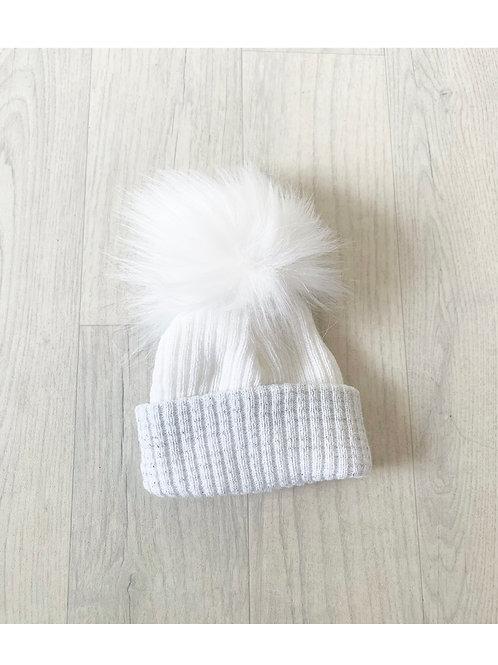 White Grey Glitter Pom Pom Hat
