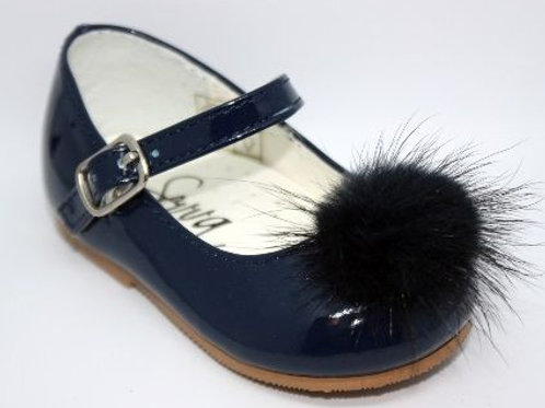 Navy Blue Patent Shoes with Fluffy Pom
